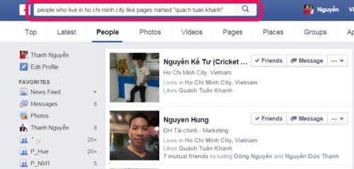 Sử dụng Graph search của facebook để tìm bạn mới